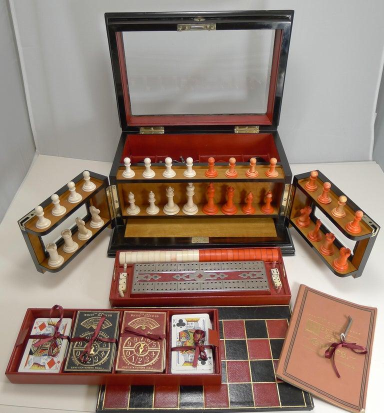 Antique English Glass Coromandel and Games Compendium / Box, circa 1880 For Sale 2
