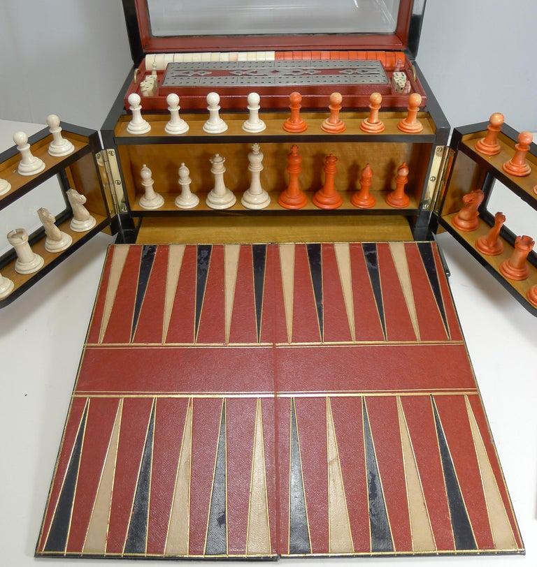 Antique English Glass Coromandel and Games Compendium / Box, circa 1880 For Sale 3