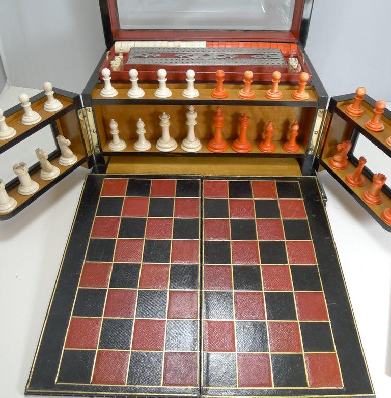 Antique English Glass Coromandel and Games Compendium / Box, circa 1880 For Sale 4