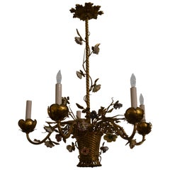Antique English Gold Bronze Chandelier with Saxe Porcelain Flowers, circa 1890