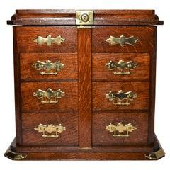 Antique English Golden Oak Cigar Box, circa 1880