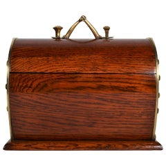 Antique English Golden Oak Horseshoe Box, circa 1880