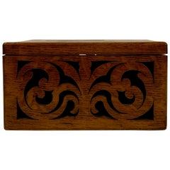 Antique English Golden Oak Letter Box, circa 1870