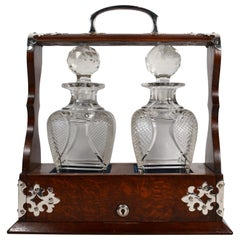 Antique English Golden Oak Two Bottle Tantalus, circa 1880