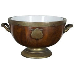 Antique English Grinsell & Sons Oak & Brass Footed Compote Ice Bucket Trophy Urn