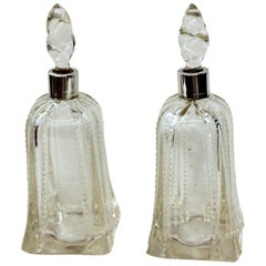 Antique English Hallmarked Sterling Collared and Cut Crystal Scent Bottles, Pair