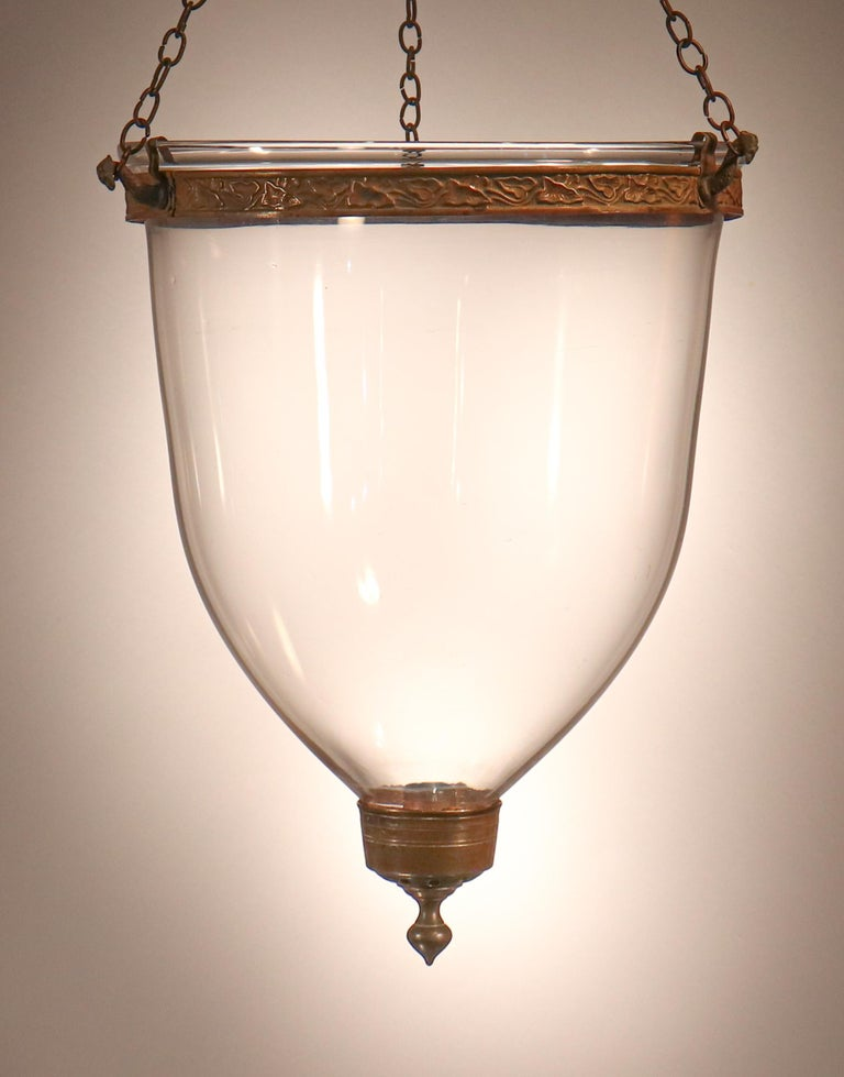 Antique English Hand Blown Glass Bell Jar Lantern For Sale 5