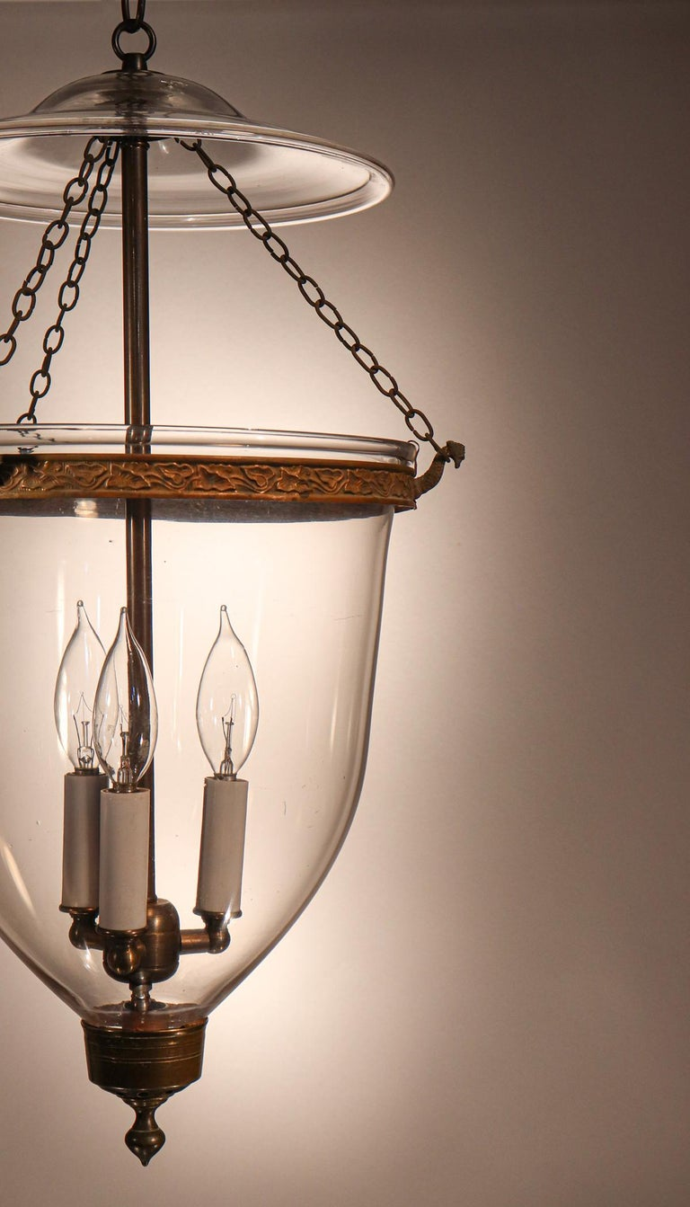 High Victorian Antique English Hand Blown Glass Bell Jar Lantern For Sale