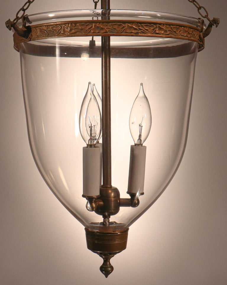19th Century Antique English Hand Blown Glass Bell Jar Lantern For Sale