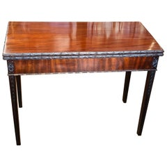 Antique English Hand Carved Solid Mahogany Large Flap top Games Table