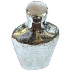 "Antique English Hand Engraved Silver Plate ""Rare Bottle Shape"" Spirits Flask"