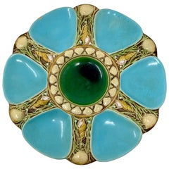 Antique English Hand-Painted Minton Majolica Porcelain Oyster Plate, Circa 1875