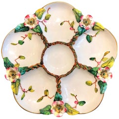 Antique English Hand Painted Mjolica Porcelain Oyster Plate, circa 1900-1910