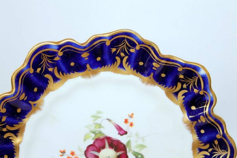 Antique English Hand Painted Porcelain Cobalt and Gold Botanical Cabinet Plate In Excellent Condition For Sale In Charleston, SC