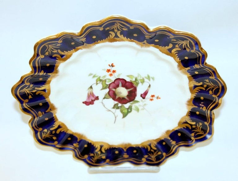 Antique English Hand Painted Porcelain Cobalt and Gold Botanical Cabinet Plate For Sale 3