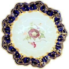 Antique English Hand Painted Porcelain Cobalt and Gold Botanical Cabinet Plate