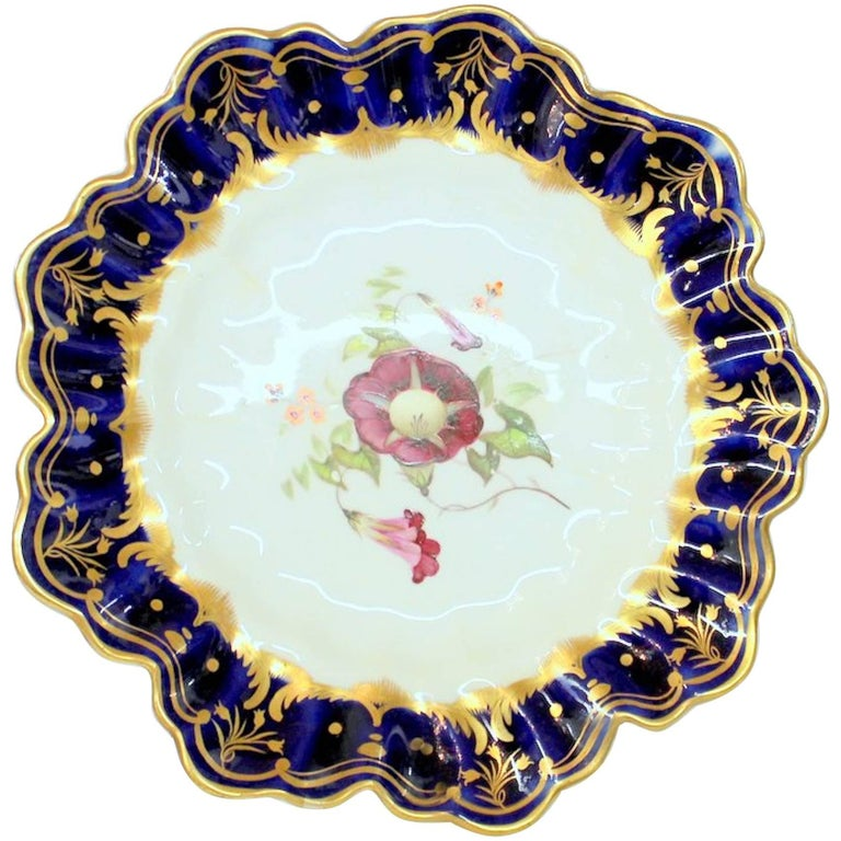 Antique English Hand Painted Porcelain Cobalt and Gold Botanical Cabinet Plate For Sale