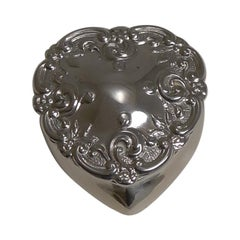 Antique English Heart Shaped Pill Box in Sterling Silver, 1905