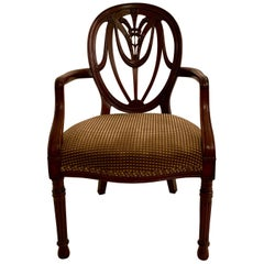 Antique English Heavy Mahogany Desk Chair, circa 1850-1870