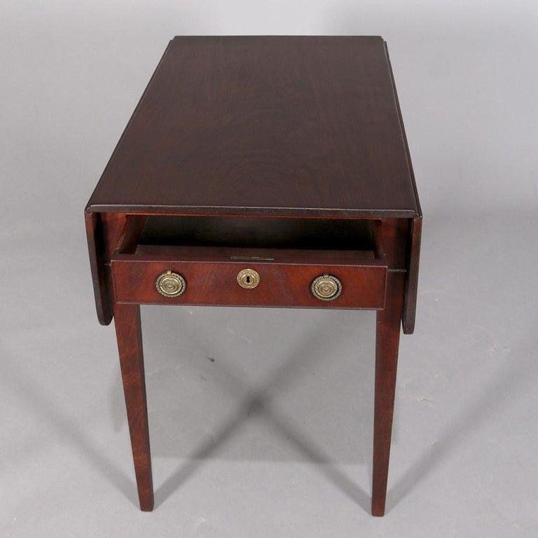 Le Grand 6 Drawer Dresser In Antique White: Antique English Hepplewhite Inlaid Mahogany Pembroke Drop
