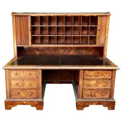 Antique English Hotel Writing Desk with Tambour Doors