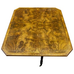 Antique English Inlaid Burr Walnut Versatile Drop-Leaf Sutherland Table