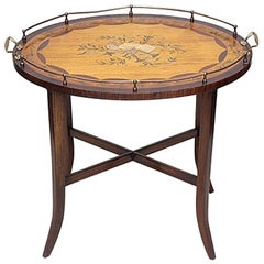 Antique English Inlaid Butler's Tray on Stand, circa 1875-1885