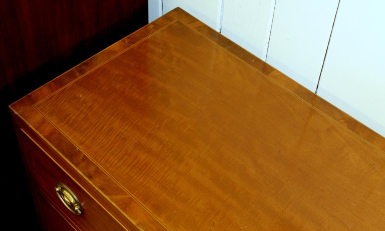 Antique English Inlaid Faded Mahogany Three-Drawer Chest For Sale 1