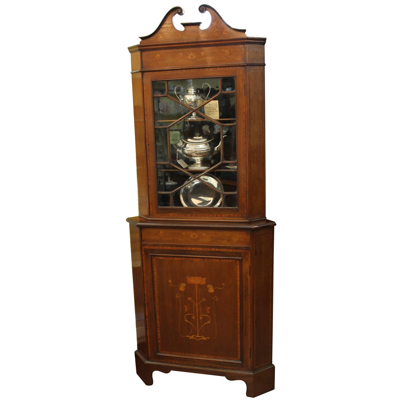 Antique English Inlaid Mahogany Art Nouveau Corner Cabinet