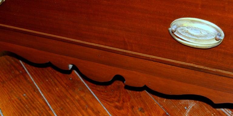 Antique English Inlaid Mahogany George III Slant-Front Bureau, Superb Interior For Sale 15