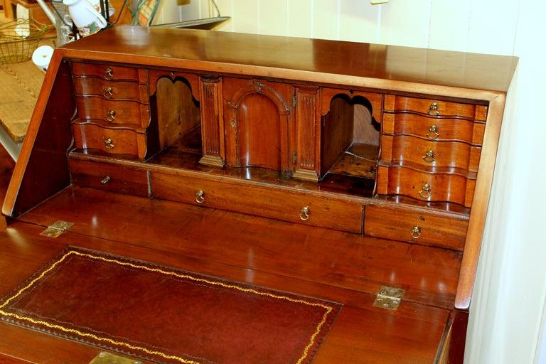 18th Century Antique English Inlaid Mahogany George III Slant-Front Bureau, Superb Interior For Sale