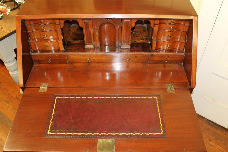 Antique English Inlaid Mahogany George III Slant-Front Bureau, Superb Interior For Sale 1