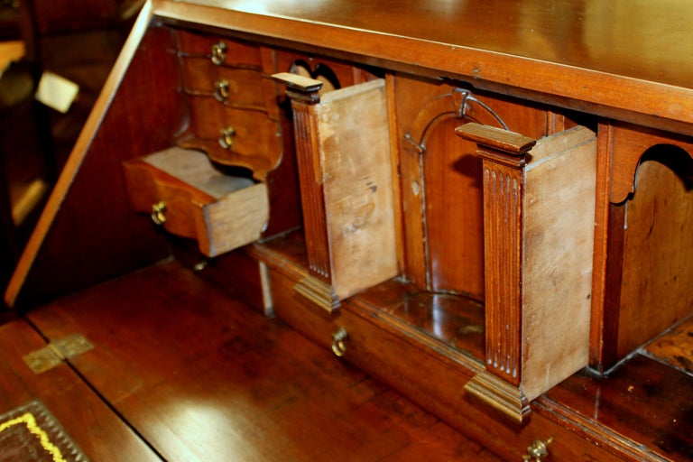 Antique English Inlaid Mahogany George III Slant-Front Bureau, Superb Interior For Sale 4