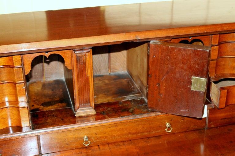 Antique English Inlaid Mahogany George III Slant-Front Bureau, Superb Interior For Sale 5