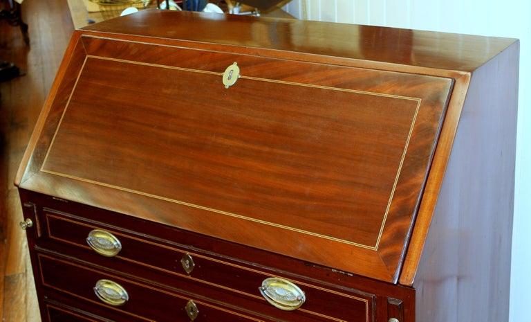 Antique English Inlaid Mahogany George III Slant-Front Bureau, Superb Interior For Sale 6