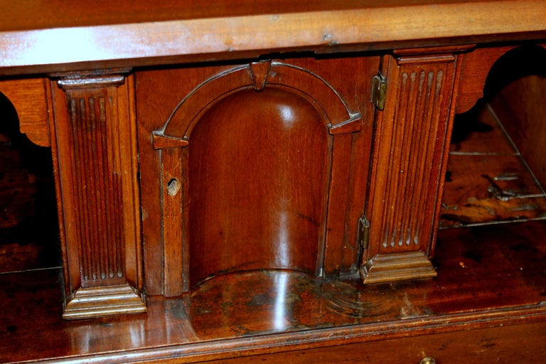 Antique English Inlaid Mahogany George III Slant-Front Bureau, Superb Interior For Sale 3