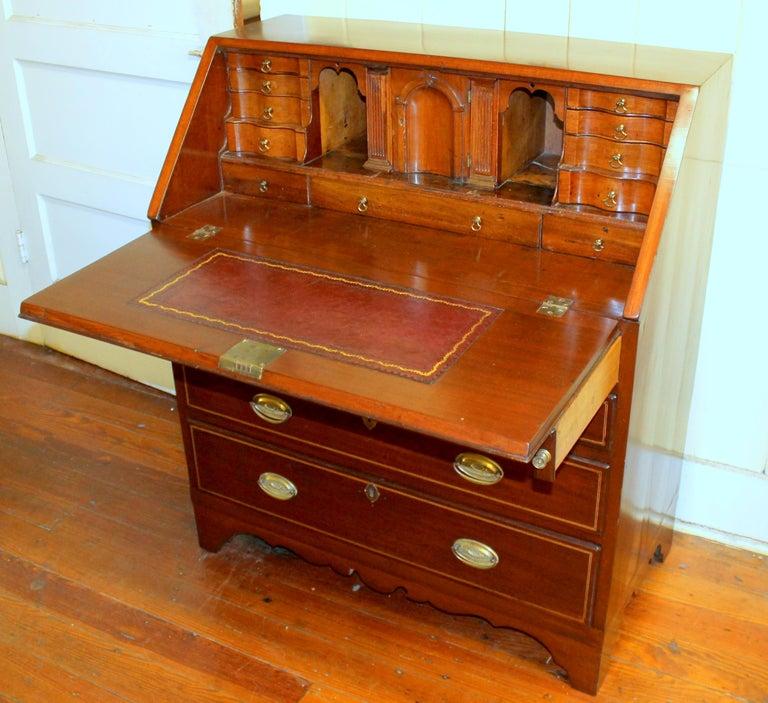 Inlay Antique English Inlaid Mahogany George III Slant-Front Bureau, Superb Interior For Sale