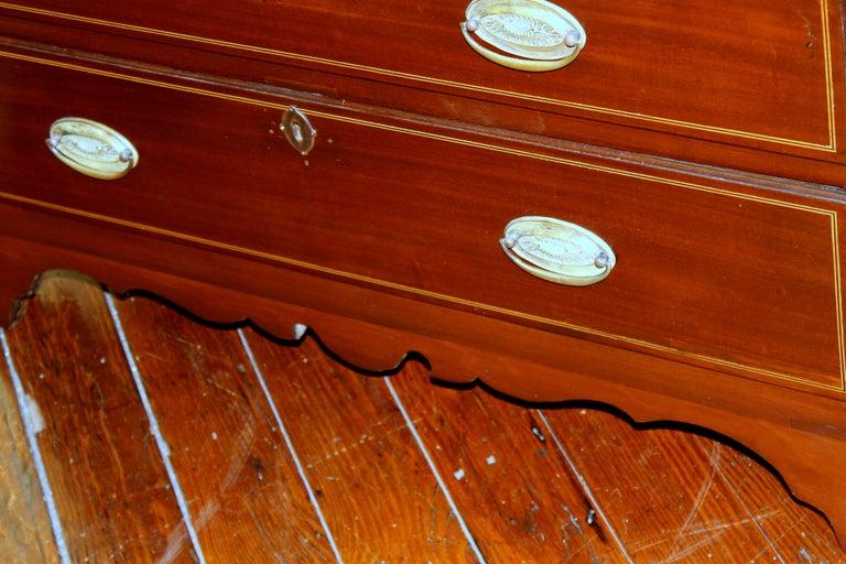 Antique English Inlaid Mahogany George III Slant-Front Bureau, Superb Interior For Sale 8