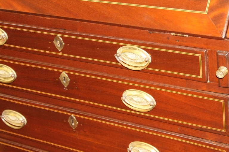Antique English Inlaid Mahogany George III Slant-Front Bureau, Superb Interior For Sale 9