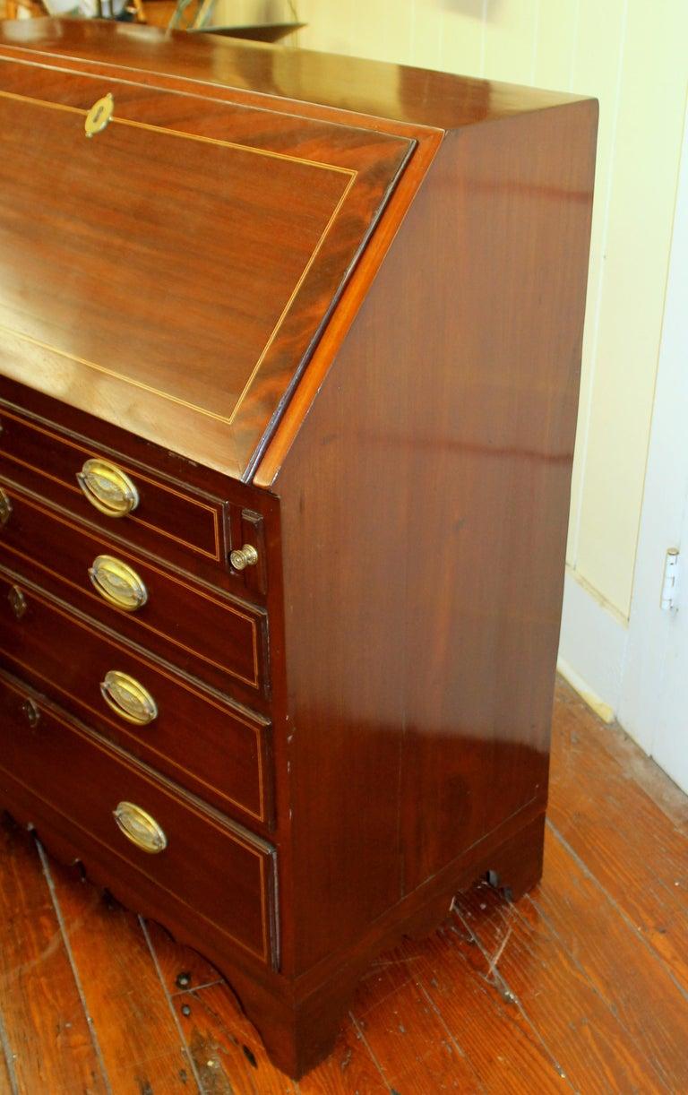 Antique English Inlaid Mahogany George III Slant-Front Bureau, Superb Interior For Sale 10