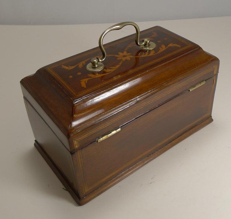 Late 18th Century Antique English Inlaid Mahogany Tea Caddy, circa 1790 For Sale