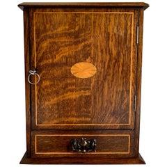 Antique English Inlaid Tiger Oak Pipe Smoke Cabinet Game Box Humidor, circa 1900