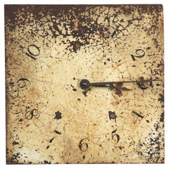 Antique English Iron Clock Dial Face Industrial Fully Working, Circa 1830