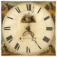 Antique English Iron Clock Dial Face, Swan, Fully Working