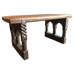 Antique English Jacobean Carved Oak Miniature Footstool