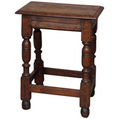 Antique English Jacobean Carved Oak Side Stand or Stool, 18th Century