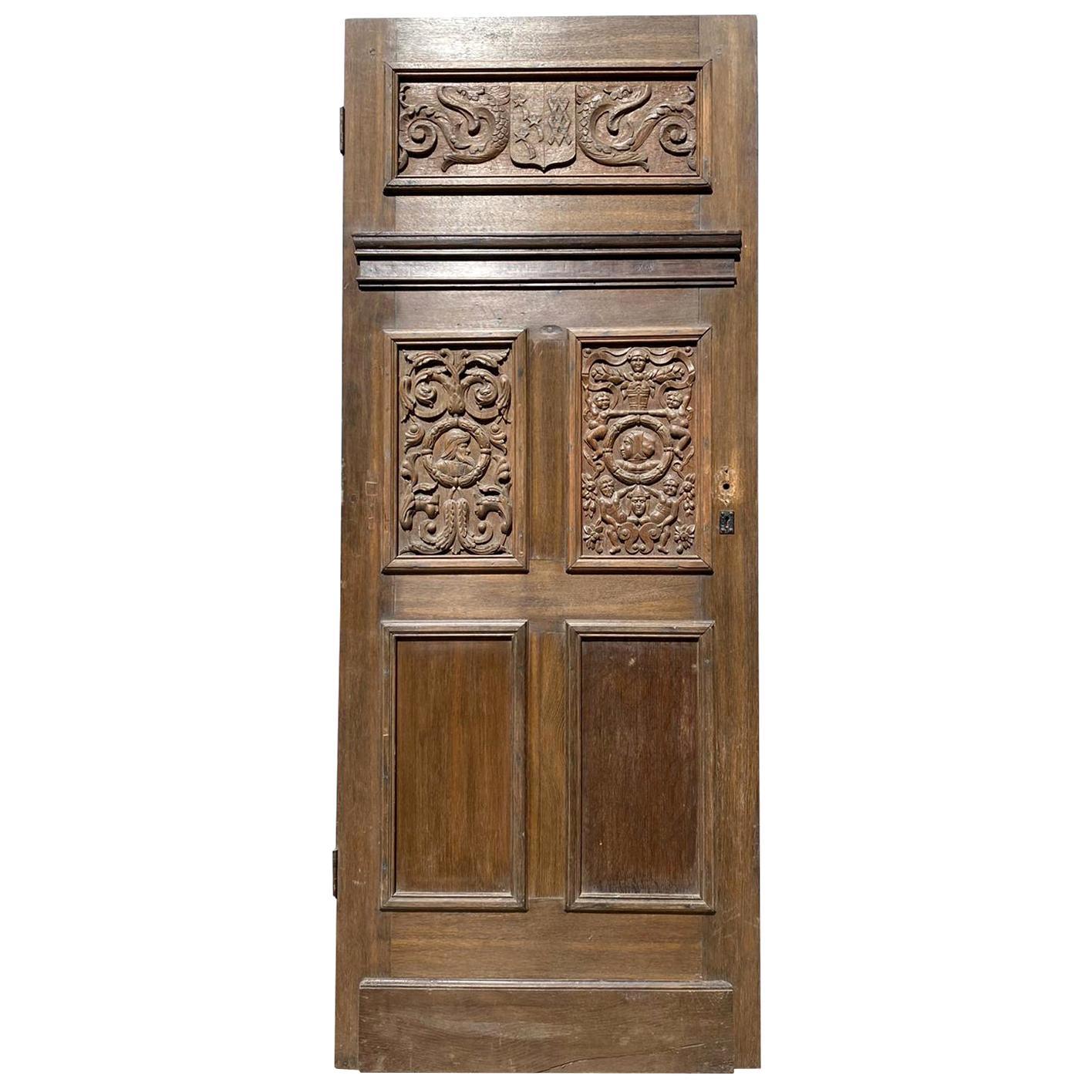 Antique English Jacobean Style Oak Door