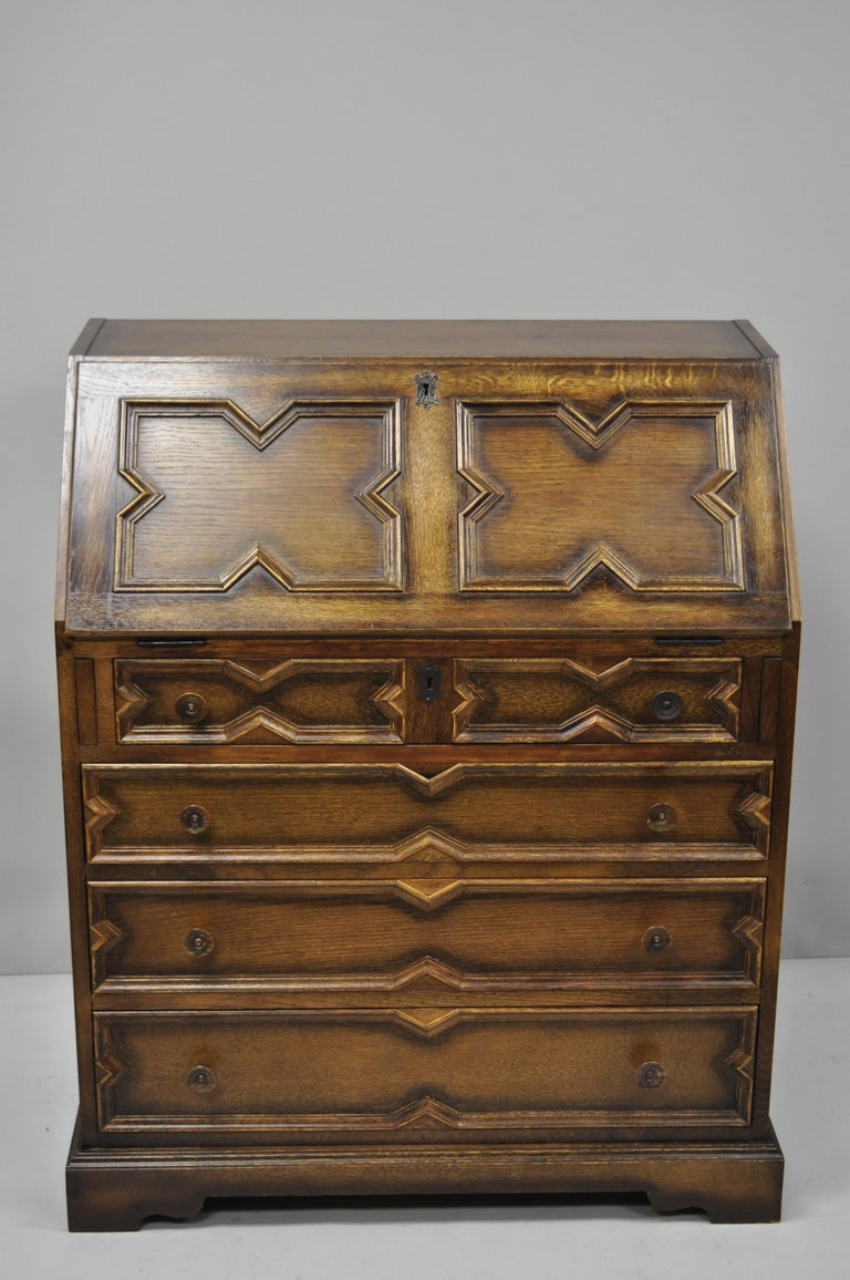 Antique English Jacobean Style Tiger Oak Wood Drop Front