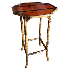 Antique English Japanned Octagonal Burnt Bamboo Wood Table in Red Bird Motif