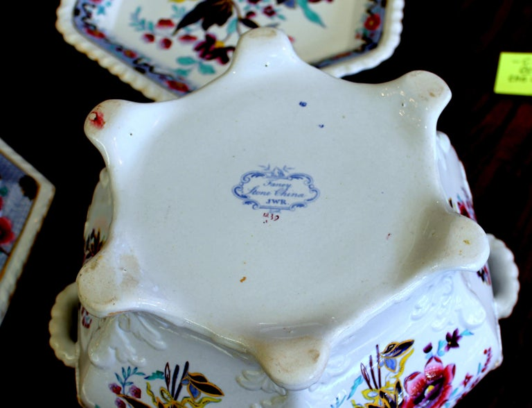 19th Century Antique English John and William Ridgway Ironstone Soup Tureen and Stand For Sale